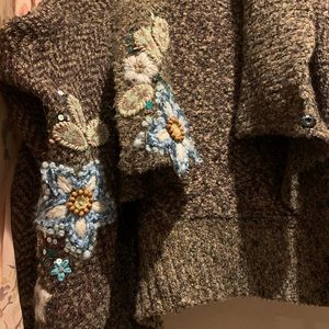 Curio Sweaters - Curios open Cardigan, Sz XL, hand stitched flowers